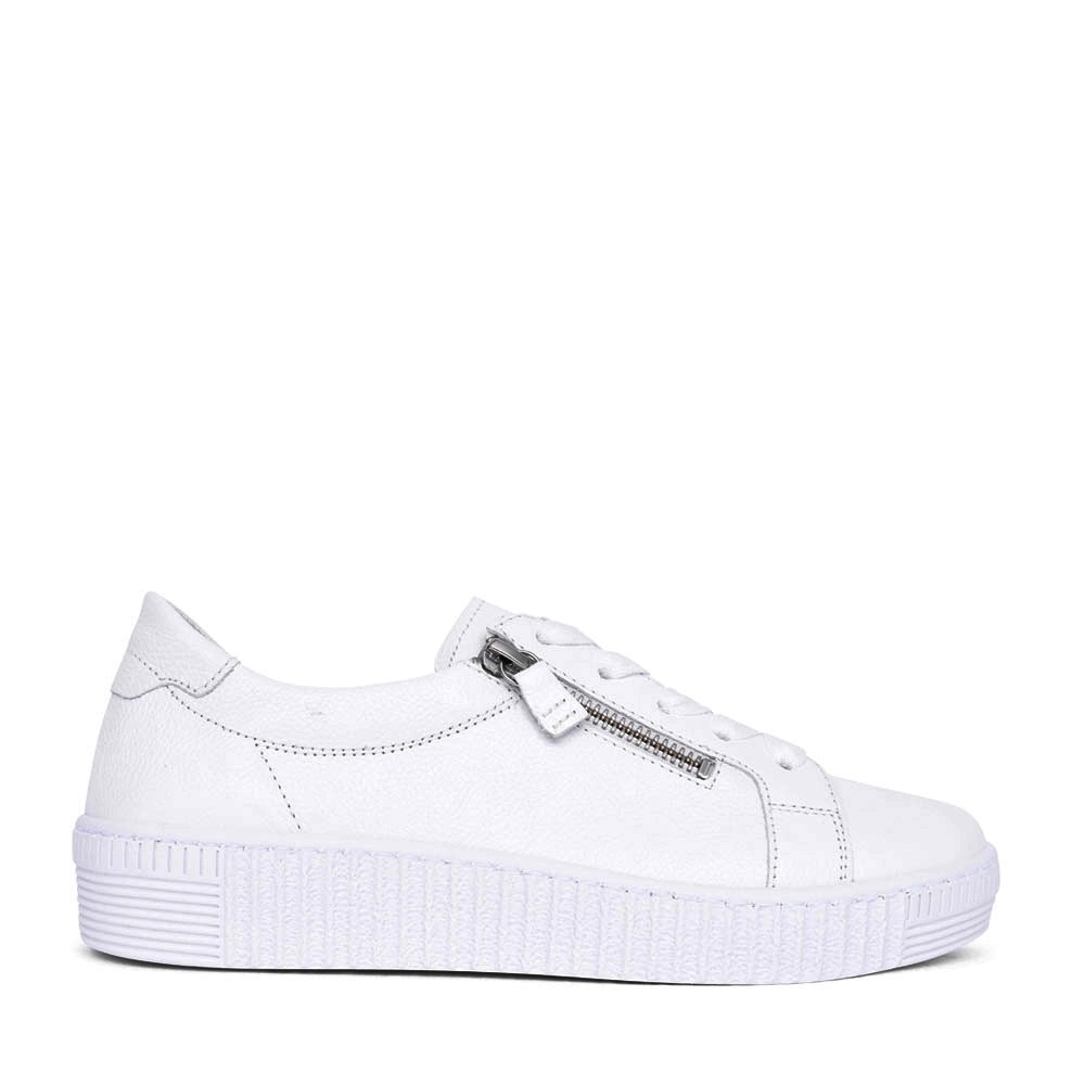 LADIES WISDOM 63.334 LACE UP TRAINER in WHITE