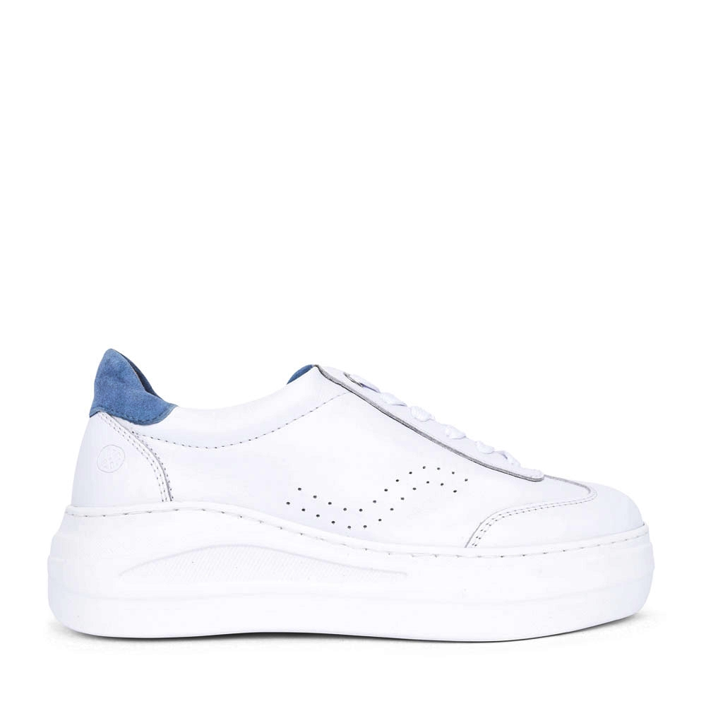 LADIES FARIZA LACE UP LEATHER SHOE in WHITE