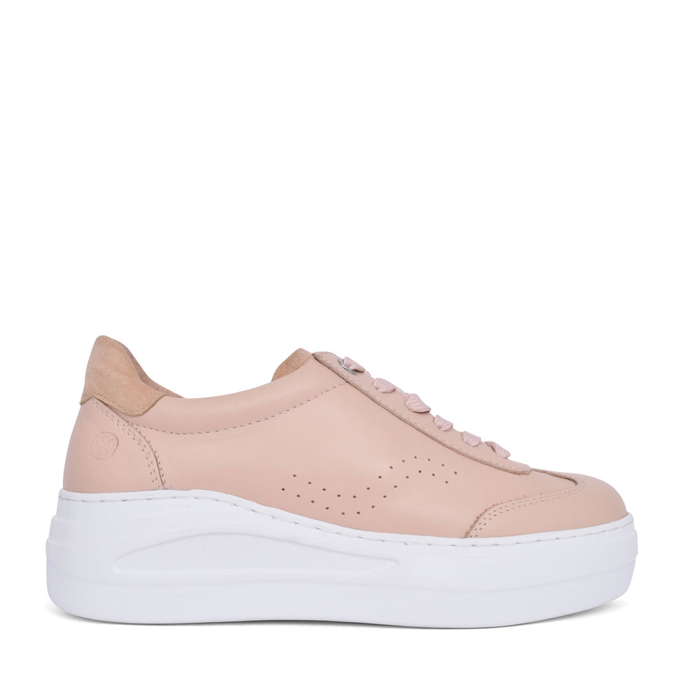 LADIES FARIZA LACE UP LEATHER SHOE in NUDE