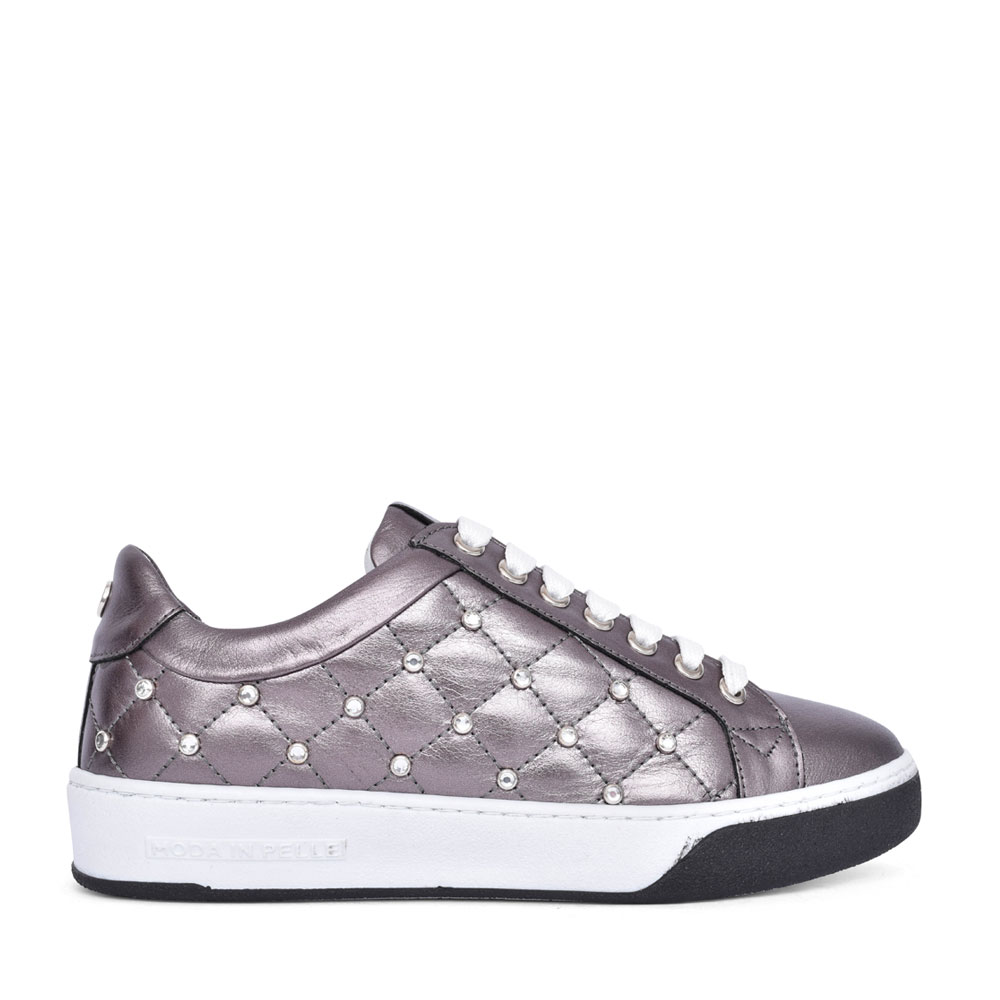 LADIES ADELAID LACE UP TRAINER in PEWTER