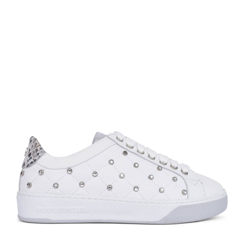 LADIES ADELAID LACE UP TRAINER in WHITE