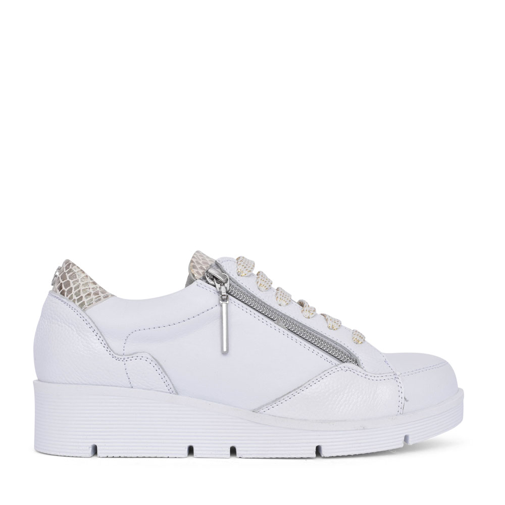 LADIES BISTENNO LACE UP WEDGE TRAINER in WHITE