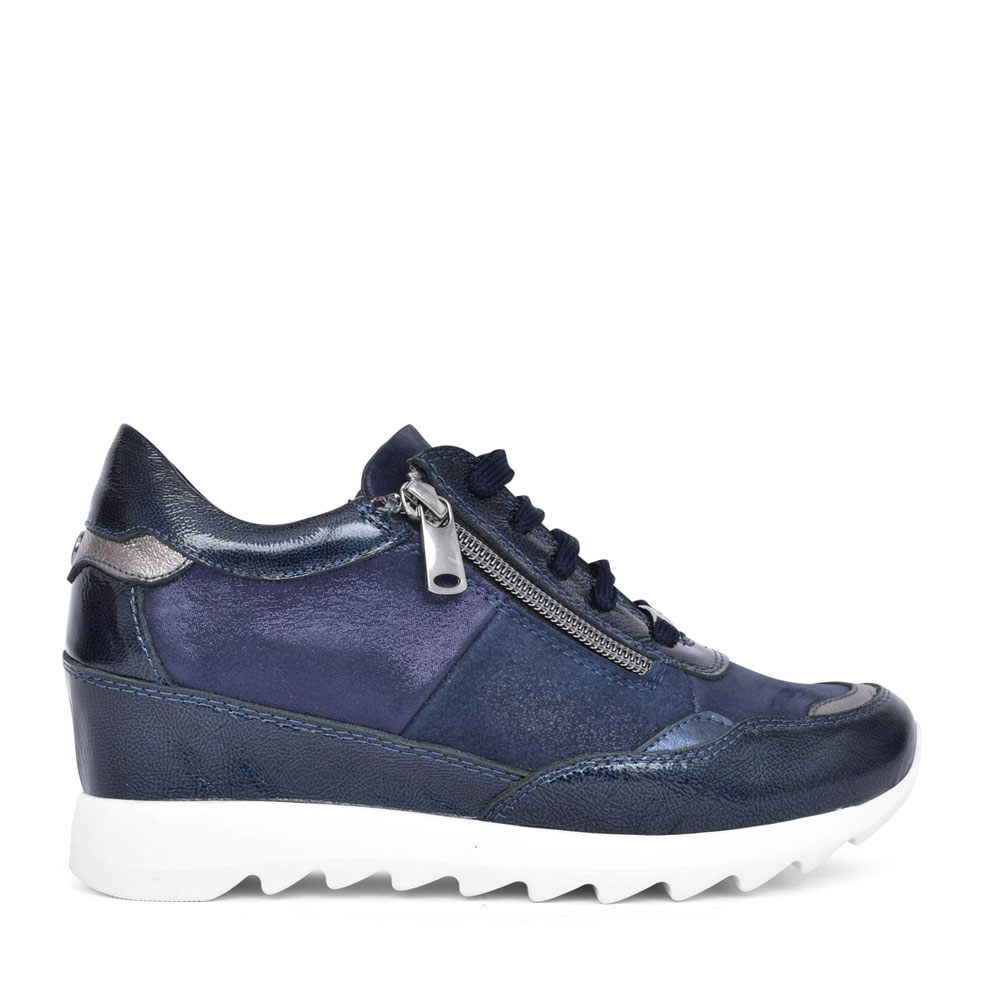 LADIES BLOSSOME LACE UP WEDGE TRAINER in NAVY