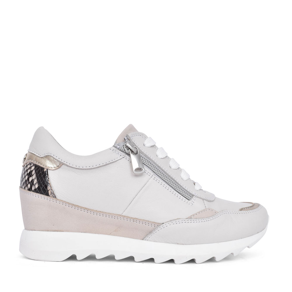LADIES BLOSSOME LACE UP WEDGE TRAINER in BEIGE