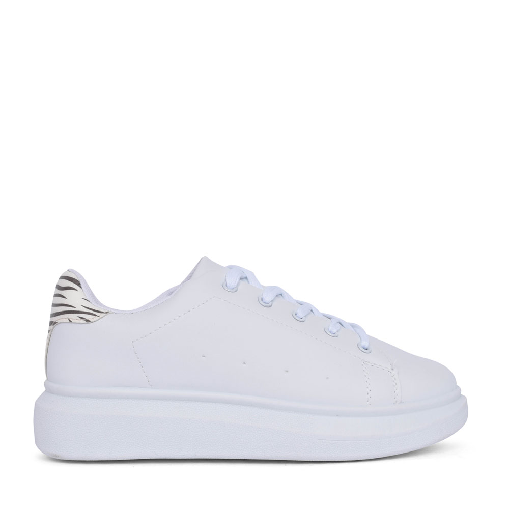 LADIES B311760 LACE UP TRAINER in WHITE