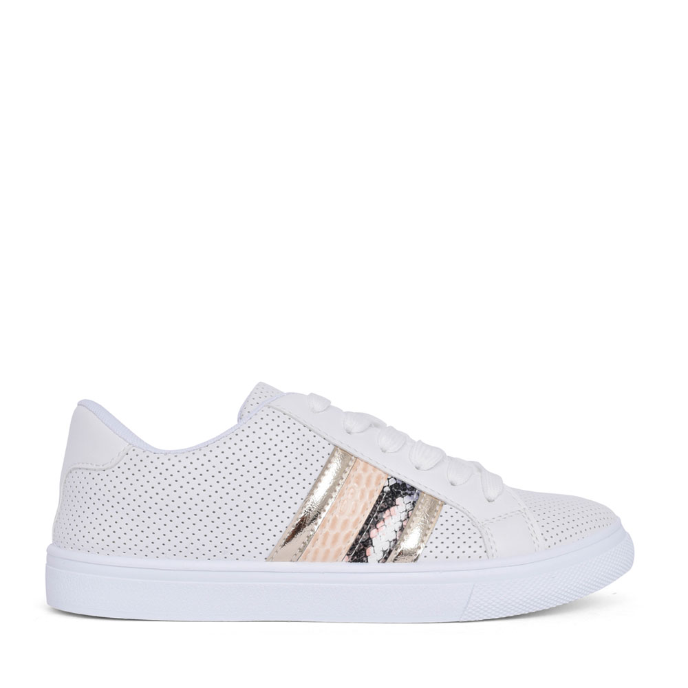 LADIES B383370 LACE UP TRAINER in WHITE