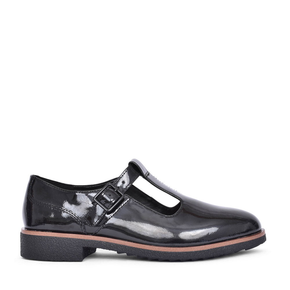 LADIES GRIFFIN TOWN LEATHER D-FIT T-BAR SHOE in BLK PATENT
