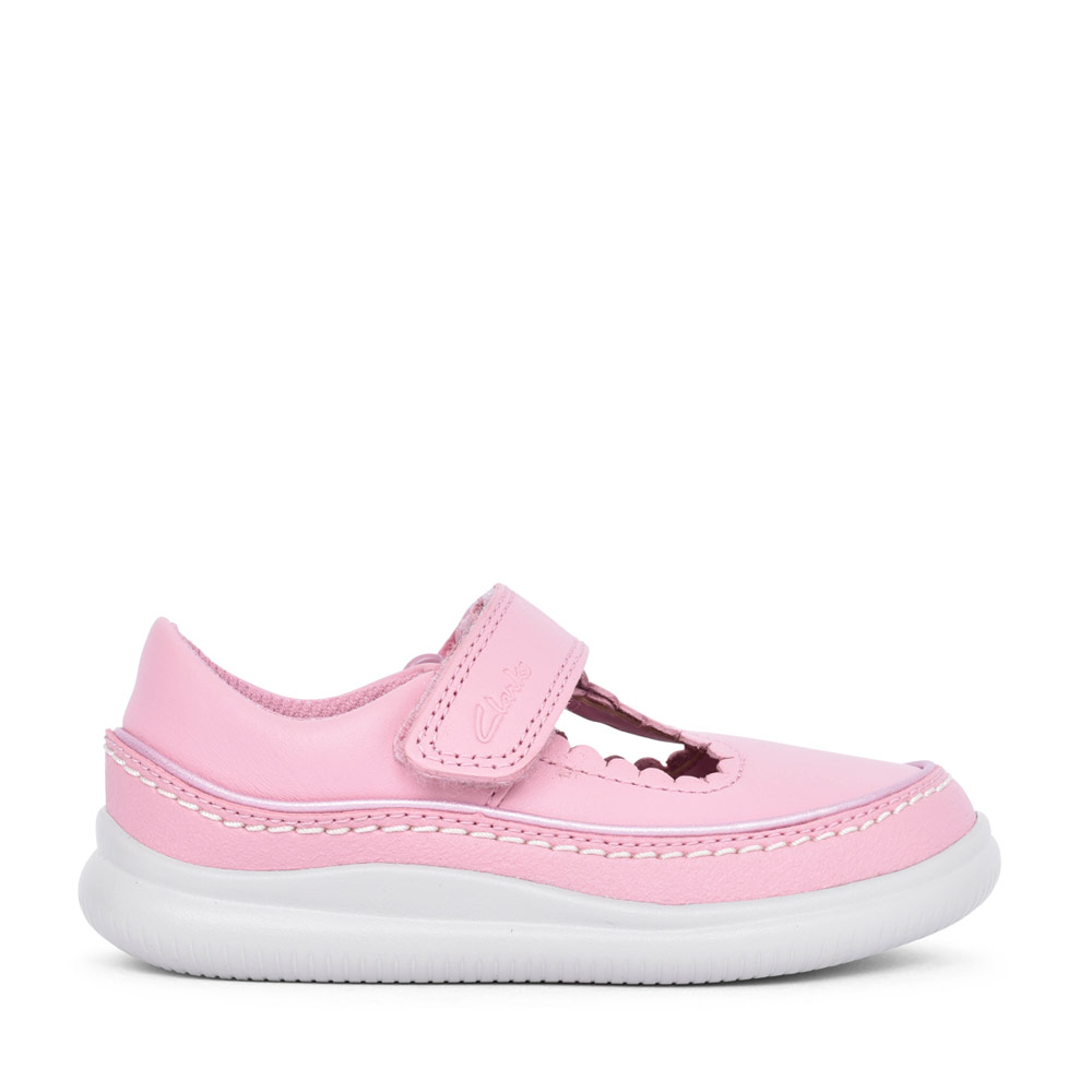 GIRLS CREST SKY PINK LEATHER T-BAR SHOE in KIDS F FIT