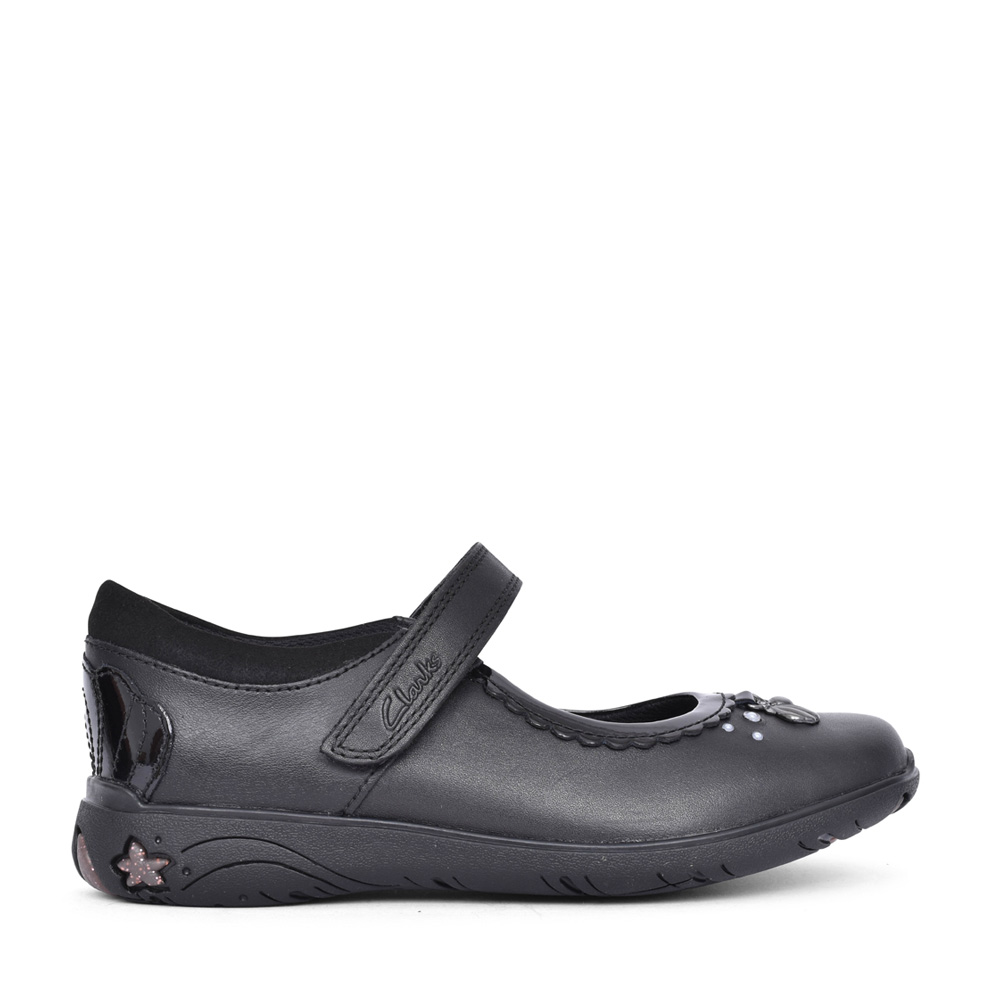 GIRLS SEA SHIMMER BLACK LEATHER MARY JANE SHOE in KIDS F FIT