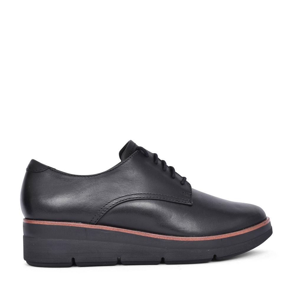 LADIES SHAYLIN LACE LEATHER D-FIT SHOE in BLK LEATHER