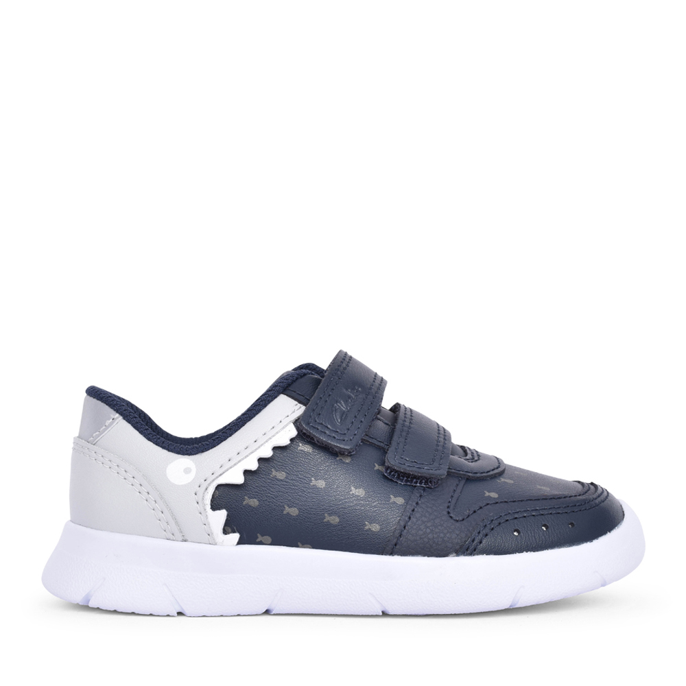 BOYS ATH SCALE NAVY LEATHER SHOE in KIDS F FIT