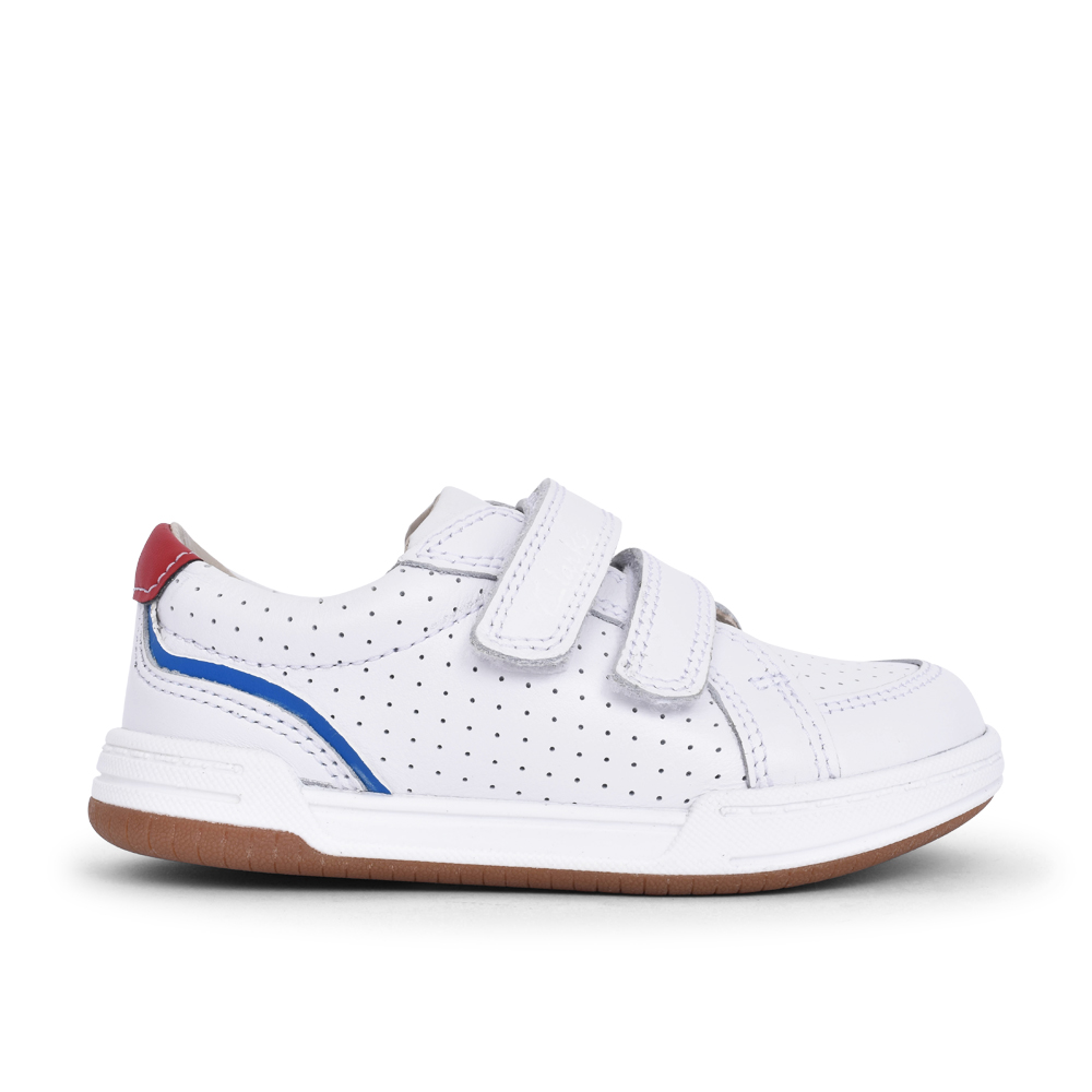 BOYS FAWN SOLO WHITE LEATHER VELCRO SHOE in KIDS G FIT