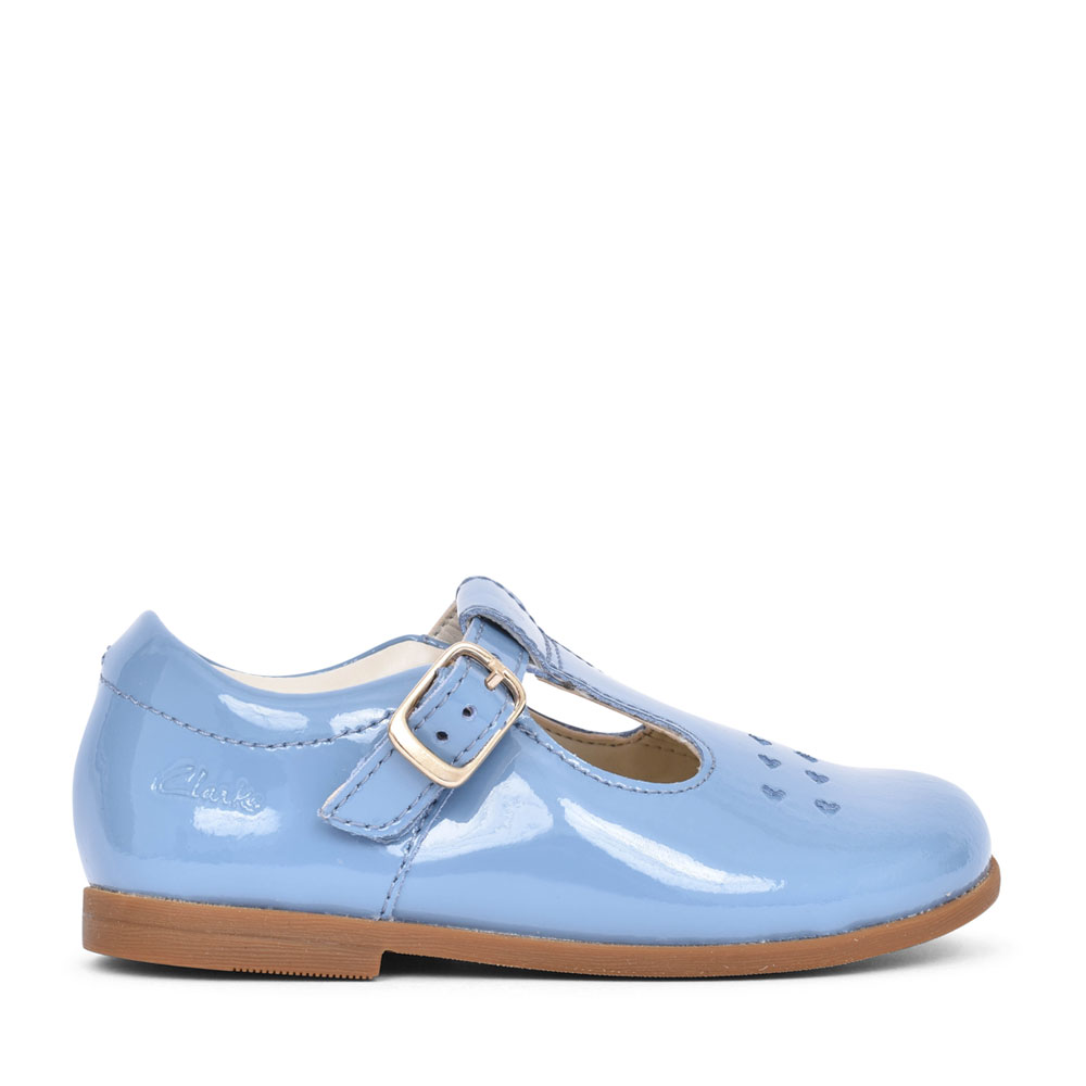 GIRLS DREW PLAY MID BLUE LEATHER T-BAR SHOE in KIDS F FIT