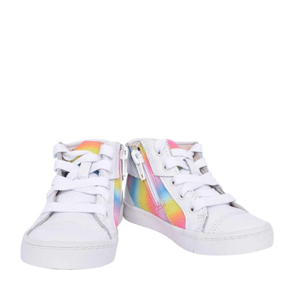 GIRLS CITY MYTH WHITE COMBI LEATHER HI-TOP ANKLE BOOT in KIDS F FIT