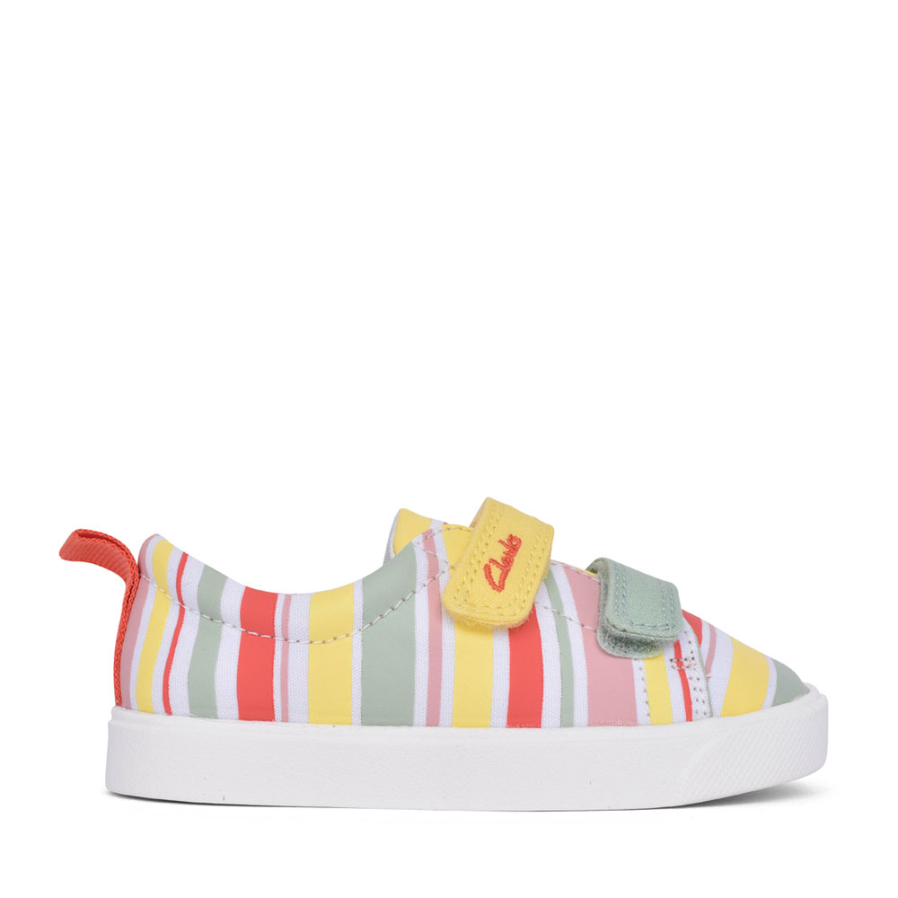 GIRLS CITY BRIGHT YELLOW COMBI CANVAS VELCRO SHOE in KIDS F FIT
