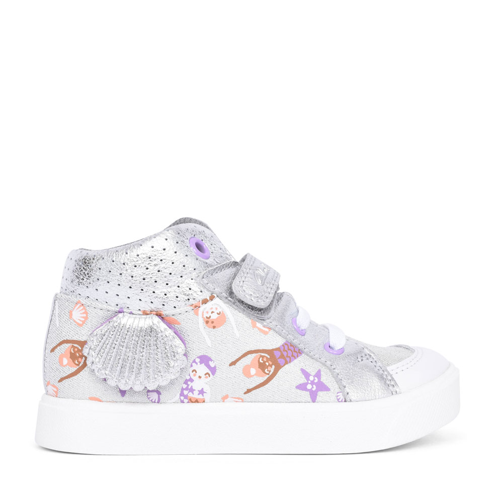 GIRLS CITY POP SILVER COMBI VELCRO HI-TOP ANKLE BOOT in KIDS F FIT