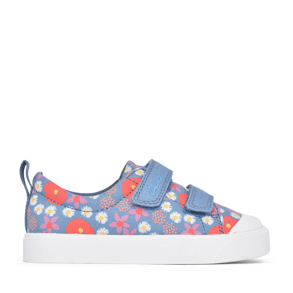 GIRLS CITY BRIGHT BLUE FLORAL CANVAS VELCRO SHOE in KIDS F FIT