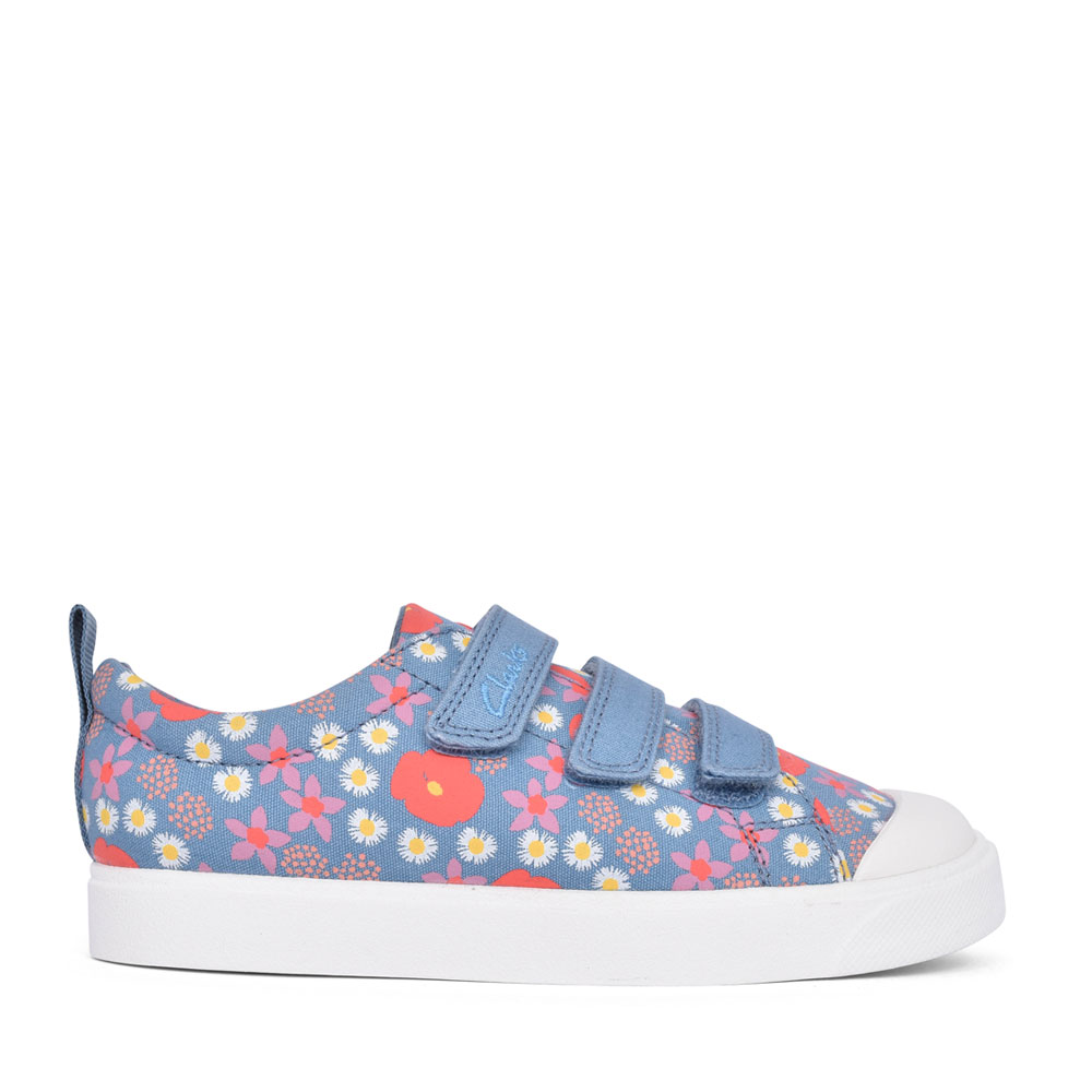GIRLS CITY VIBE BLUE FLORAL CANVAS VELCRO SHOE in KIDS F FIT