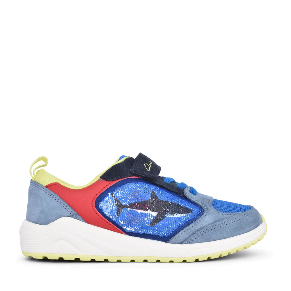 BOYS AEON FLEX BRIGHT BLUE COMBI SUEDE VELCRO TRAINER in KIDS G FIT
