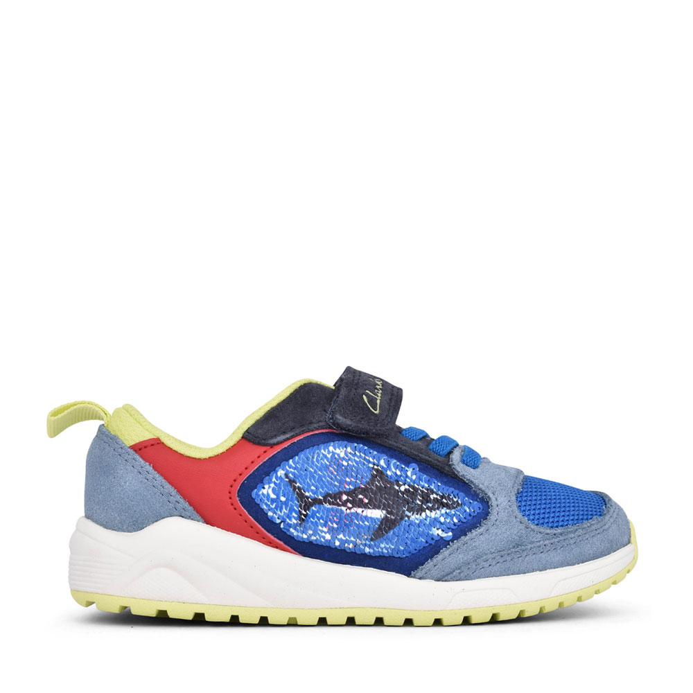 BOYS AEON FLEX BRIGHT BLUE COMBI SUEDE TRAINER in KIDS F FIT