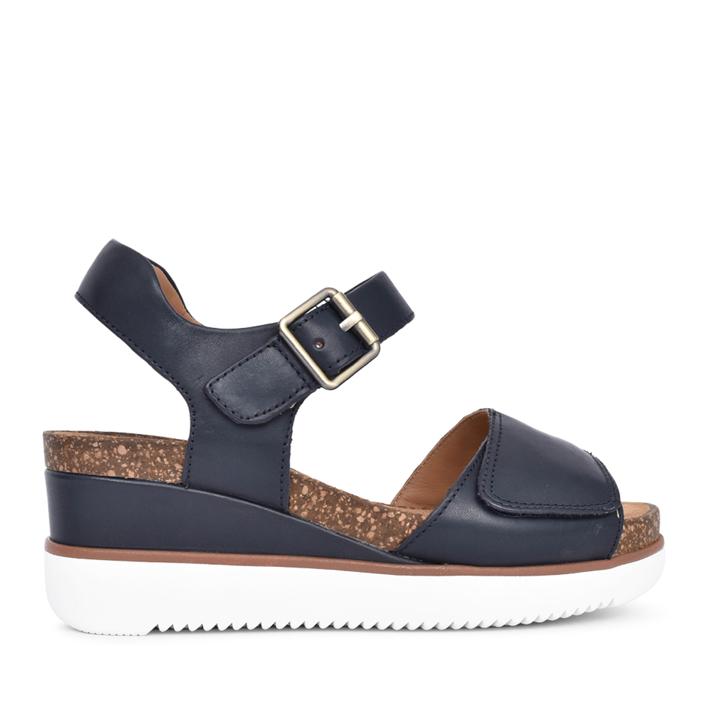 LADIES LIZBY STRAP LEATHER D-FIT SANDAL in NAVY