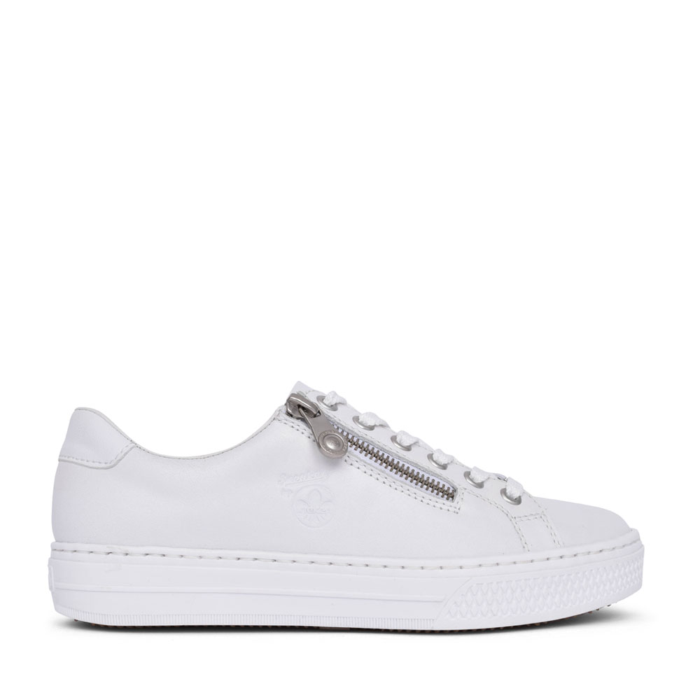 LADIES L59L1 LACE UP TRAINER in WHITE