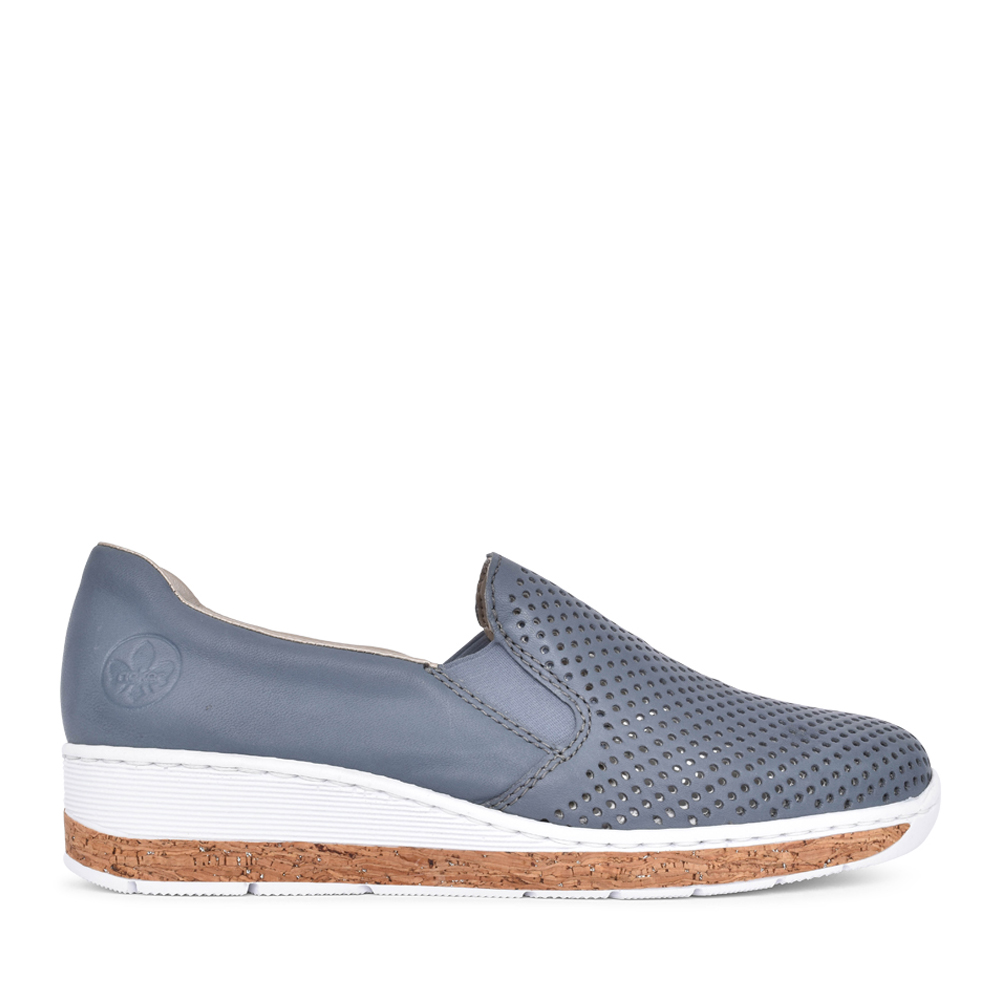 LADIES 59776 SLIP ON WEDGE SHOE in BLUE