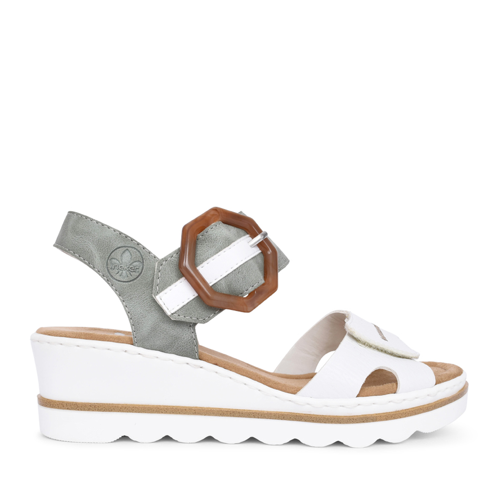 LADIES 67476 WEDGE SANDAL in WHITE