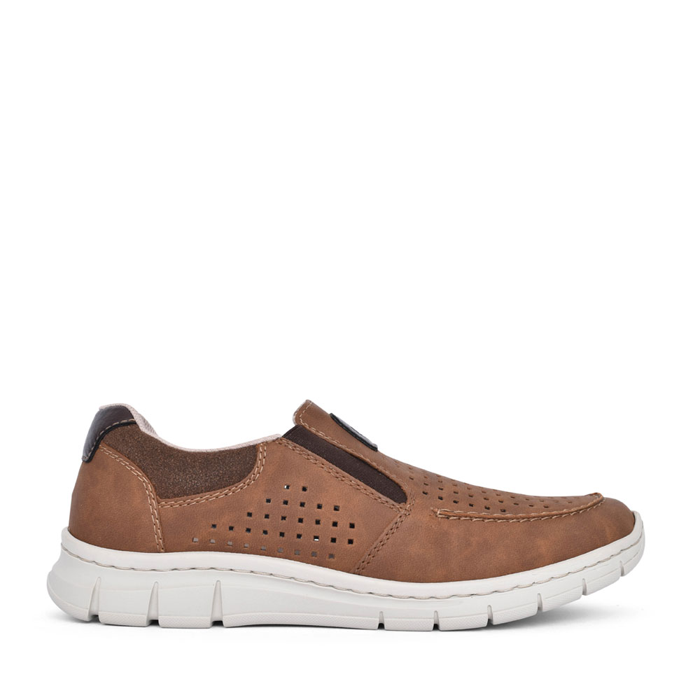 MENS B7766 PERFORATED SLIP ON SHOE in TAN
