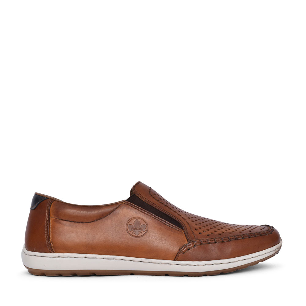 MENS 8868 PERFORATED SLIP ON SHOE in TAN