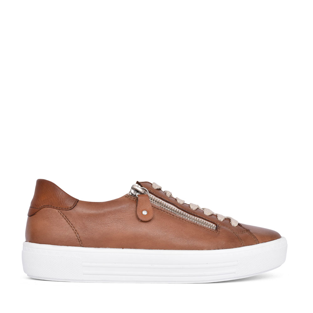 LADIES D0903 LACE UP SHOE in TAN