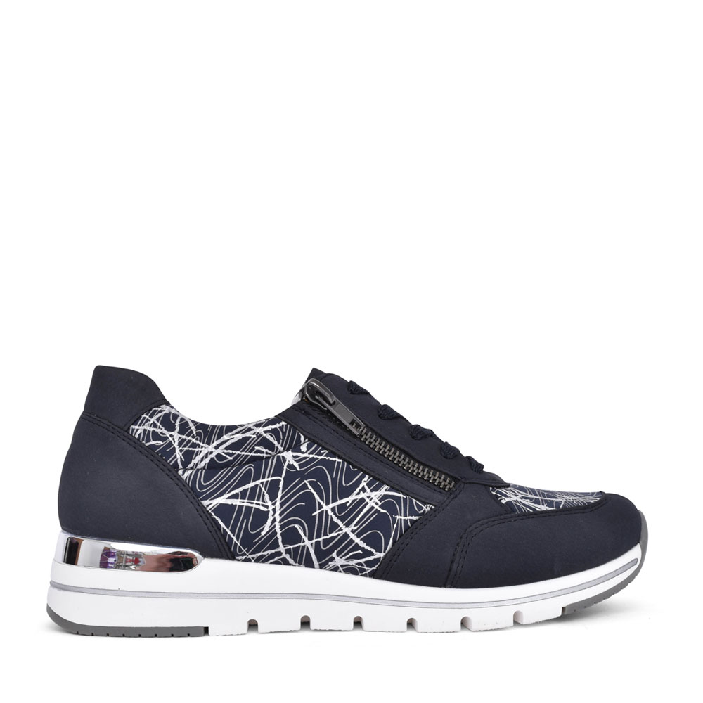 LADIES R6700 LACE UP WEDGE SHOE in NAVY