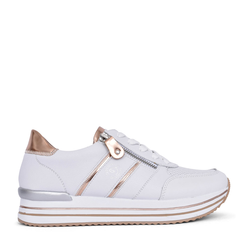 LADIES D1310 LACE UP SHOE in WHITE