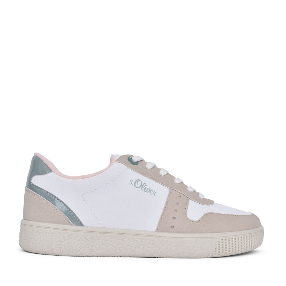 LADIES 5-23611 LACE UP SHOE in WHITE