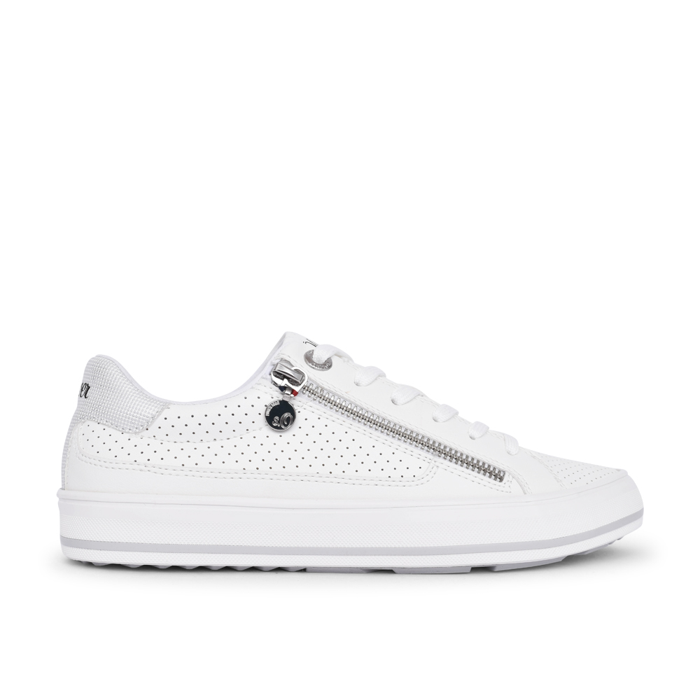 LADIES 5-23615 LACE UP SHOE in WHITE