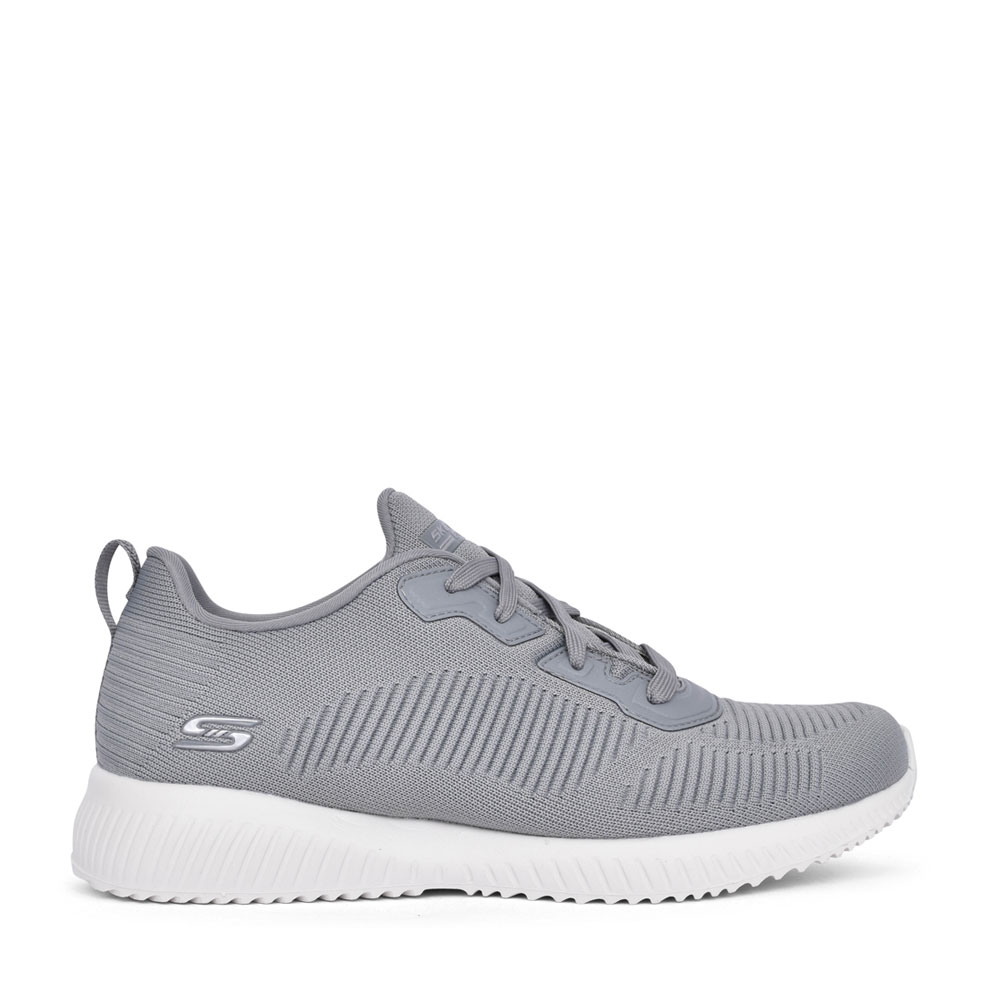 LADIES 32504 BOBS SQUAD TOUGH TALK LACE UP TRAINER in GREY