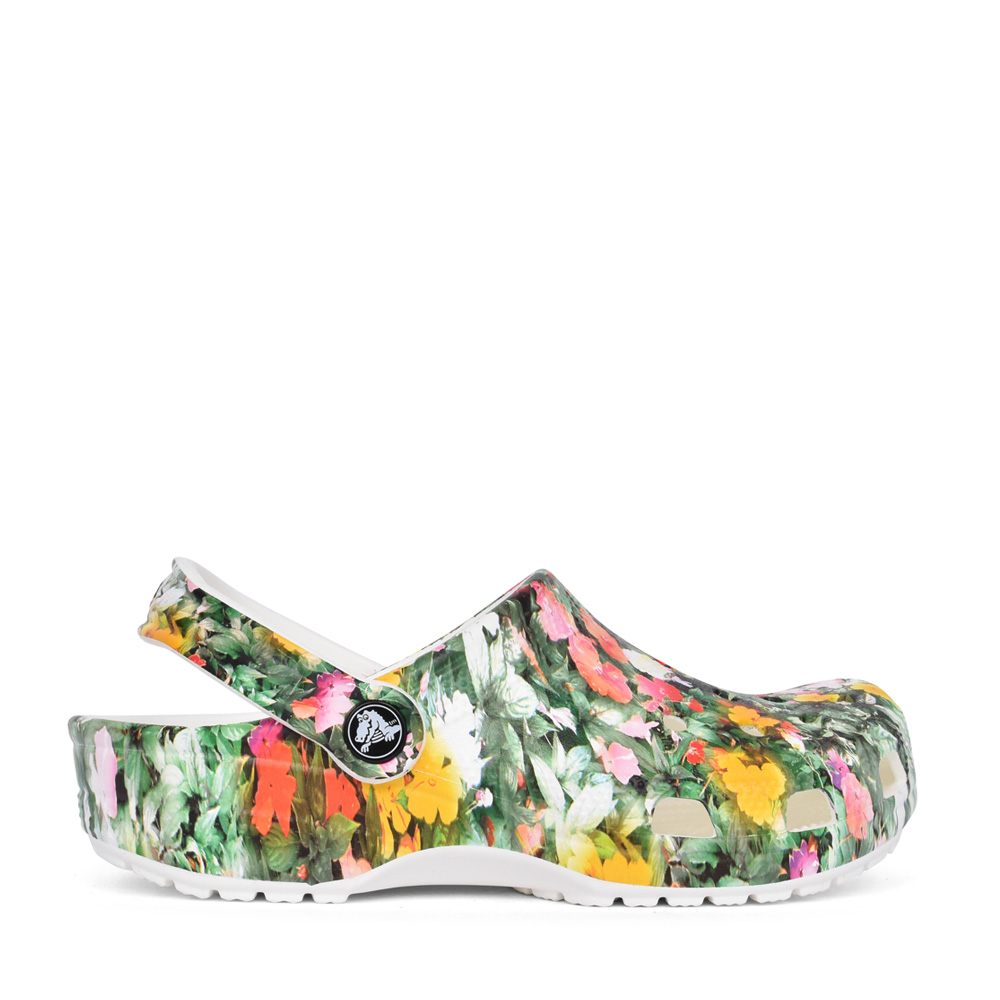 LADIES 206376 CLASSIC PRINTED FLORAL CLOG in WHITE