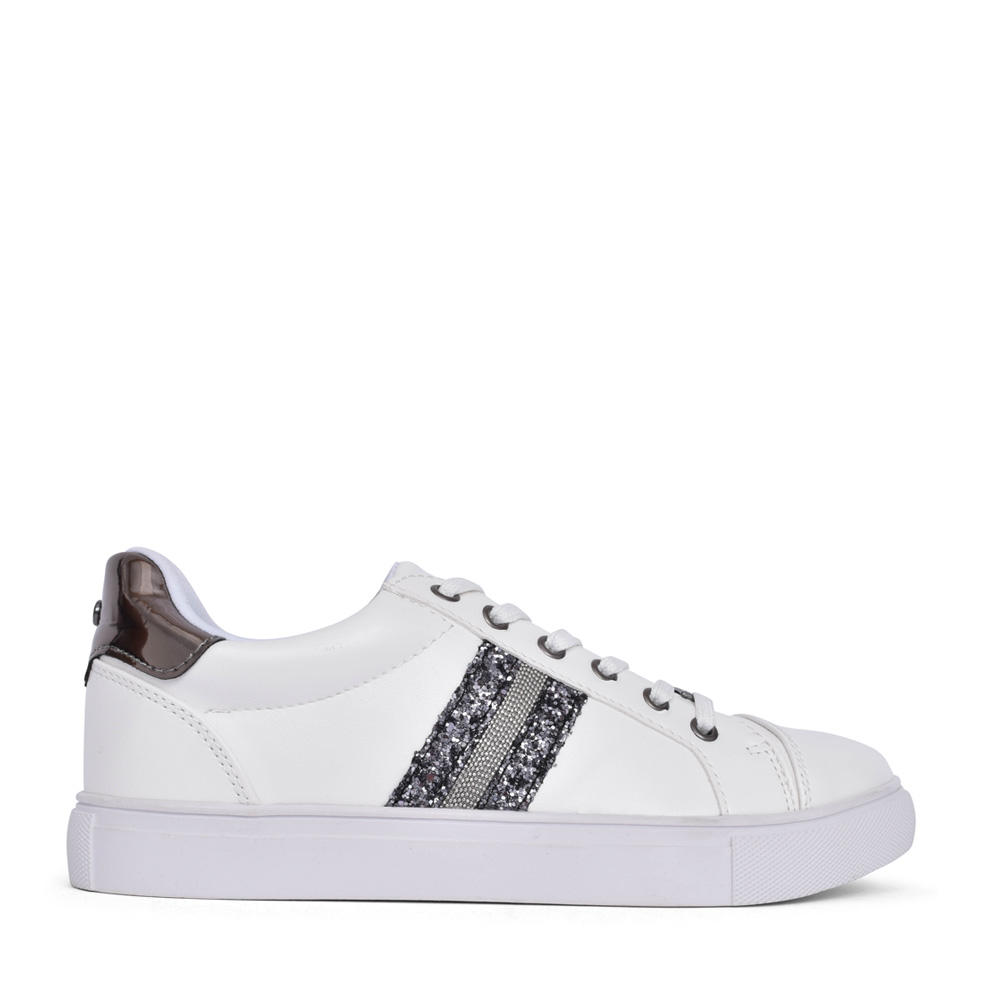 LADIES GLITTER LACE UP SHOE in WHITE