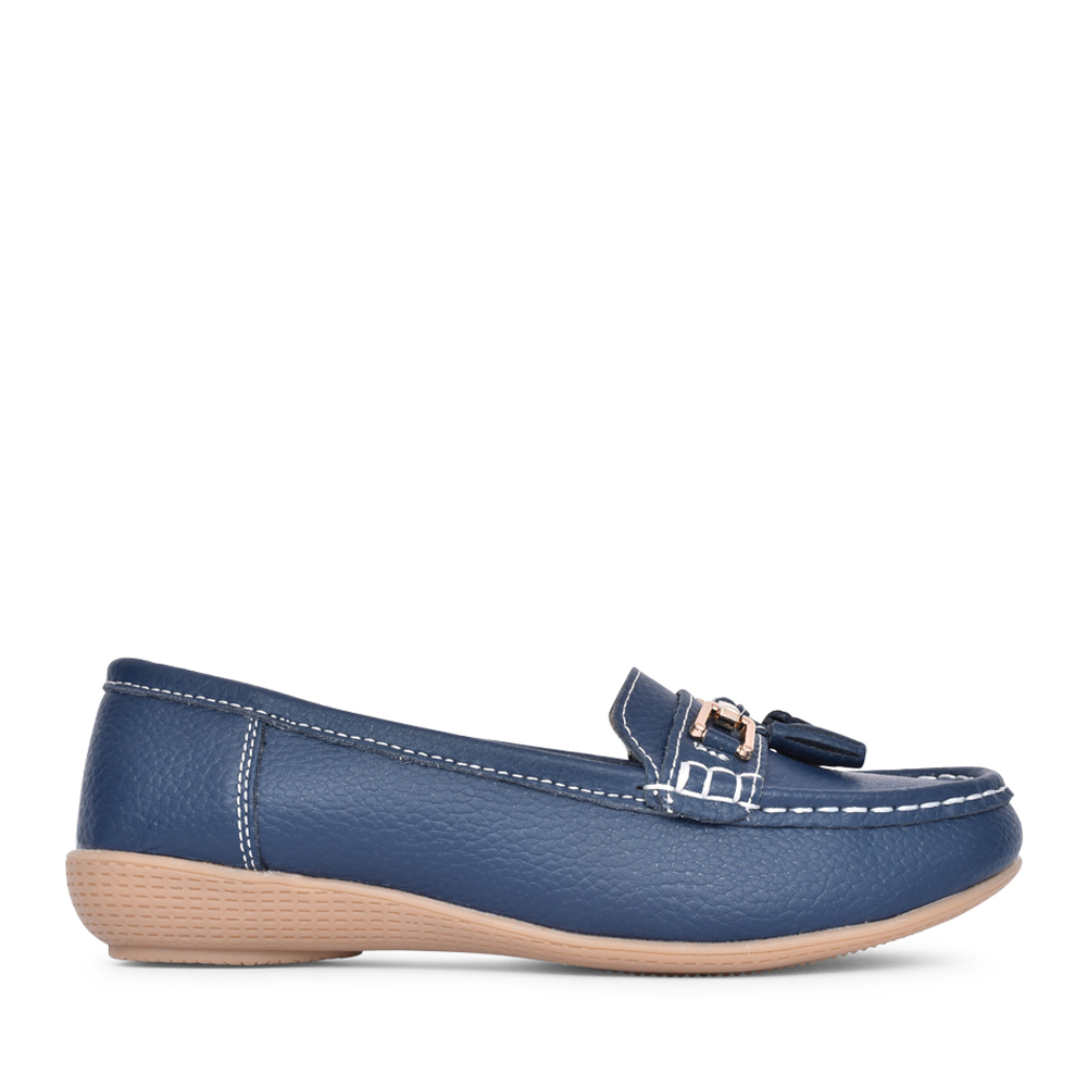 LADIES NAUTICAL SLIP ON SHOE in NAVY