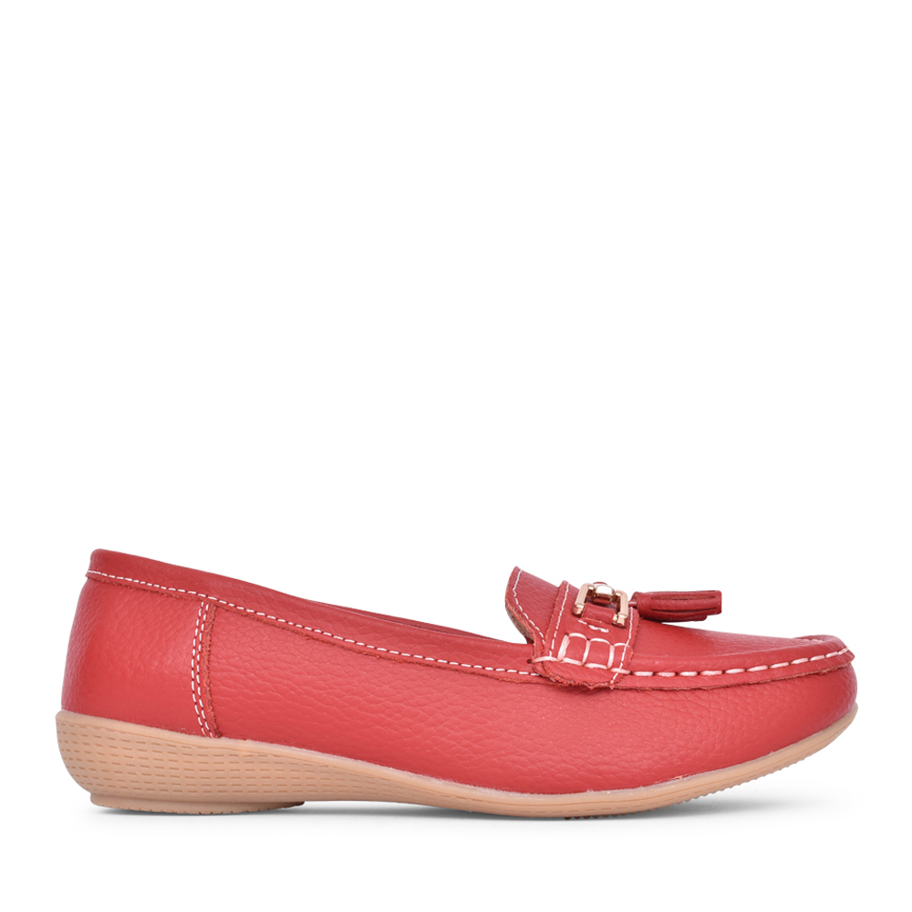 LADIES NAUTICAL SLIP ON SHOE in RED