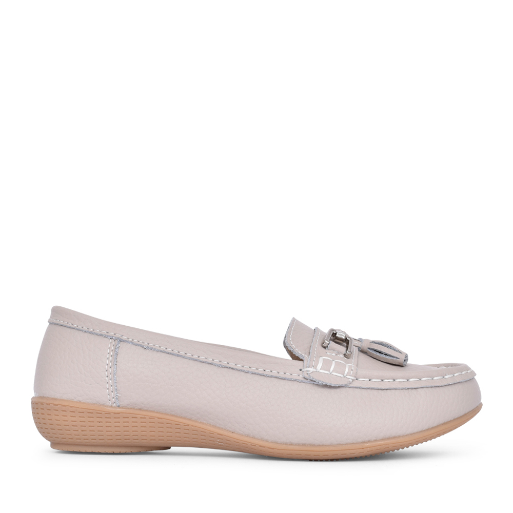 LADIES NAUTICAL SLIP ON SHOE in GREY