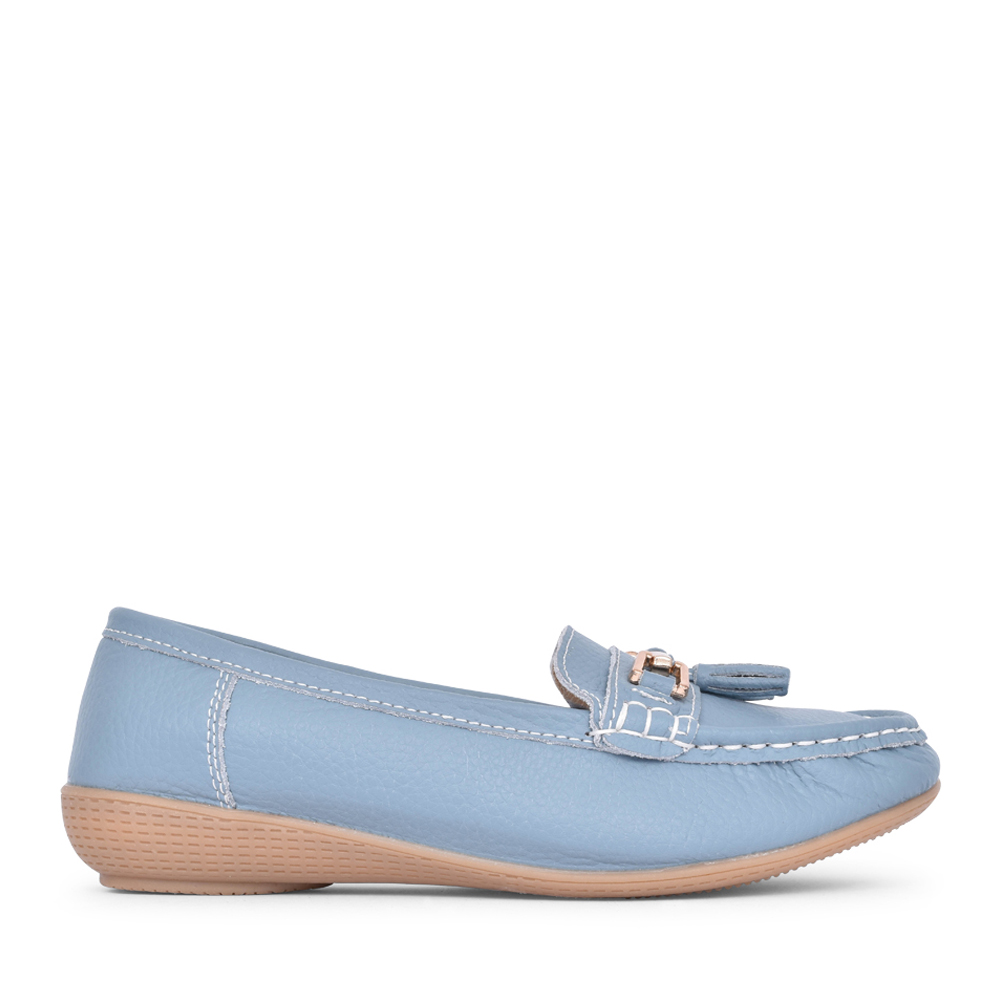 LADIES NAUTICAL SLIP ON SHOE in SKY BLUE