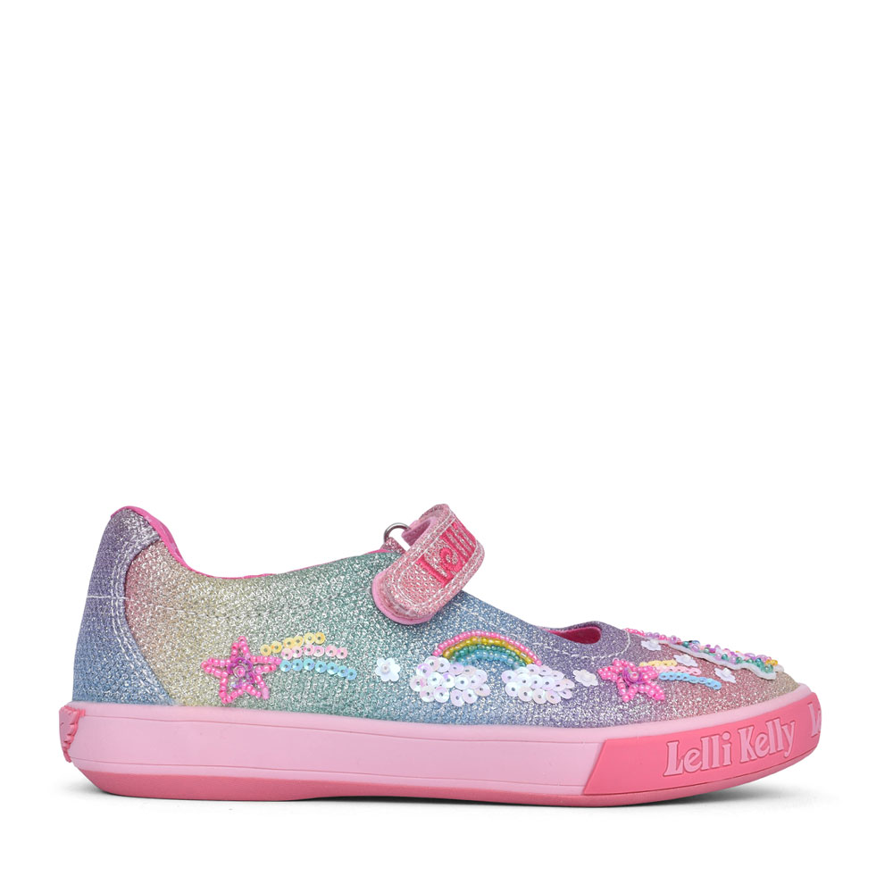 GIRLS LK7076 UNICORN MARY JANE SHOE in MULTI-COLOUR