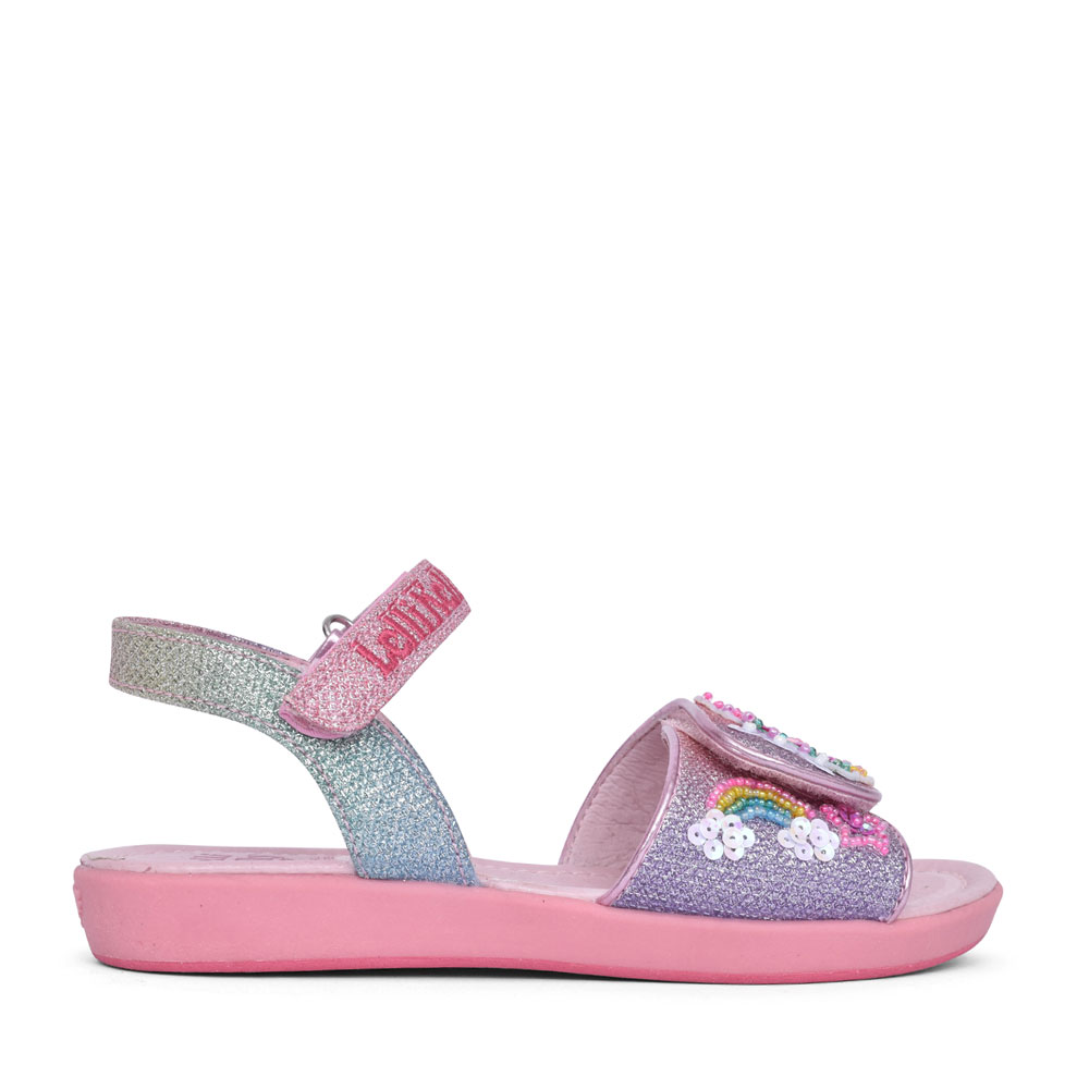 GIRLS LK7402 UNICORN VELCRO SANDAL in MULTI-COLOUR