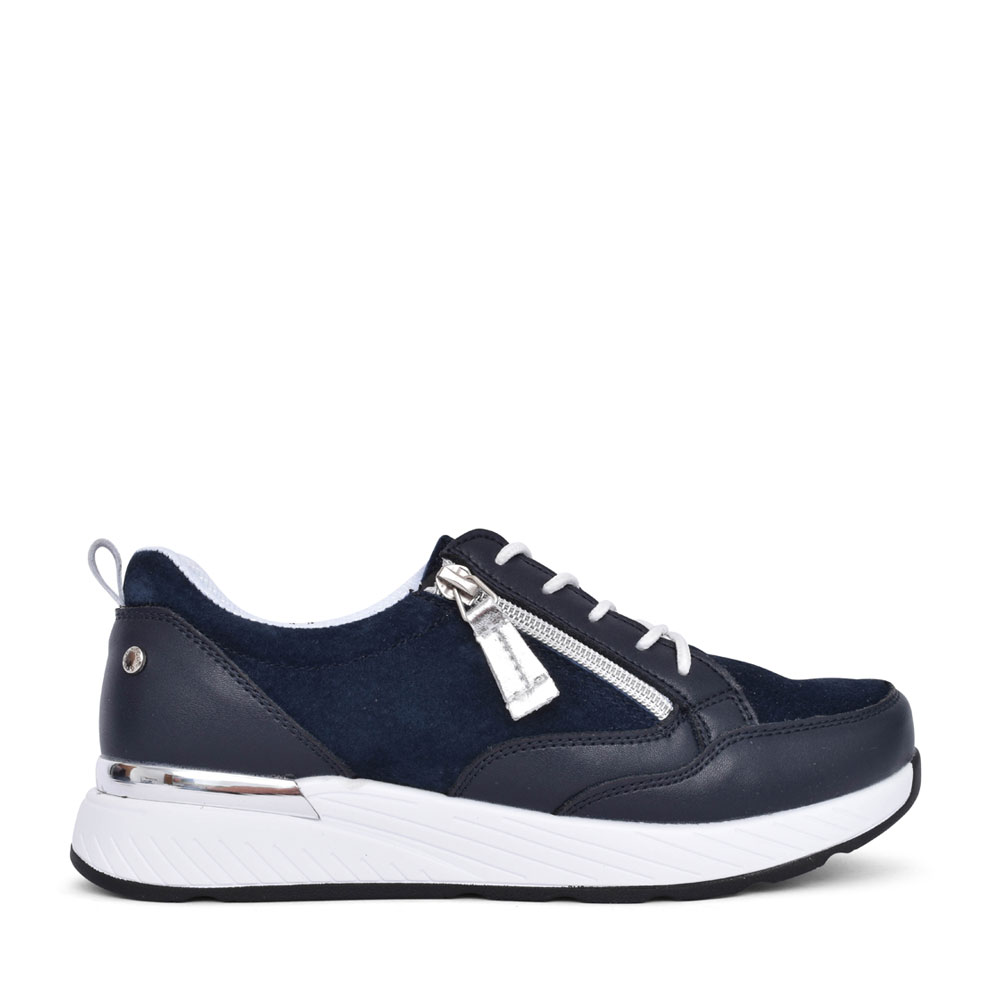 LADIES SALUZZO LACE UP TRAINER in NAVY