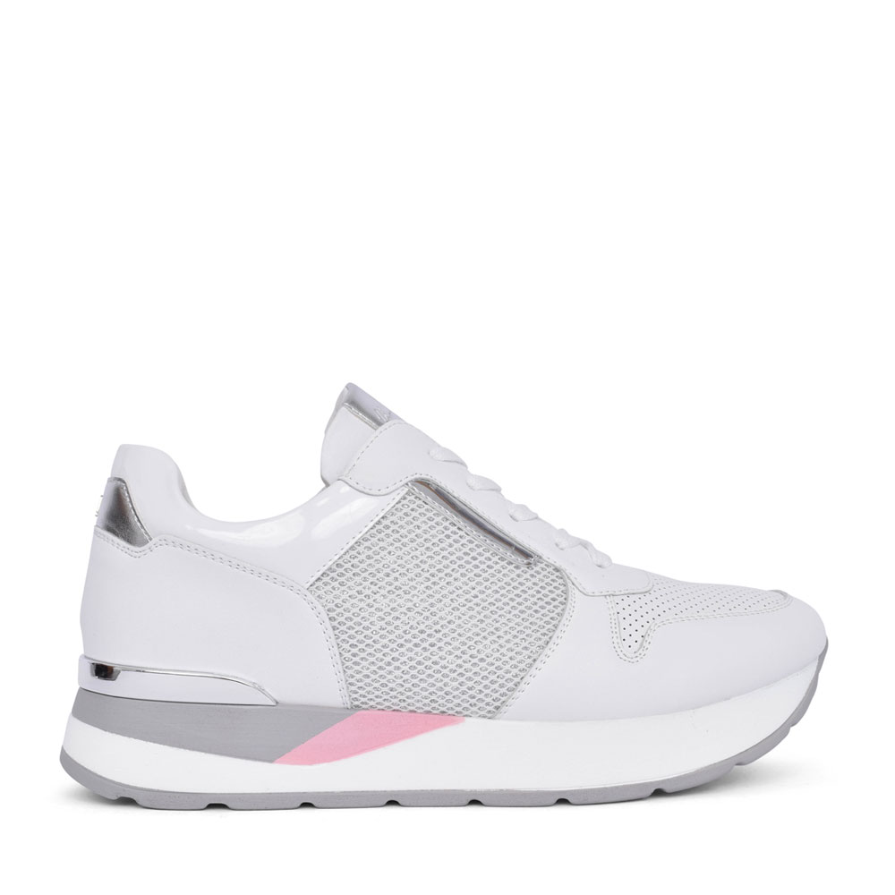 LADIES ROSES LACE UP TRAINER in WHITE