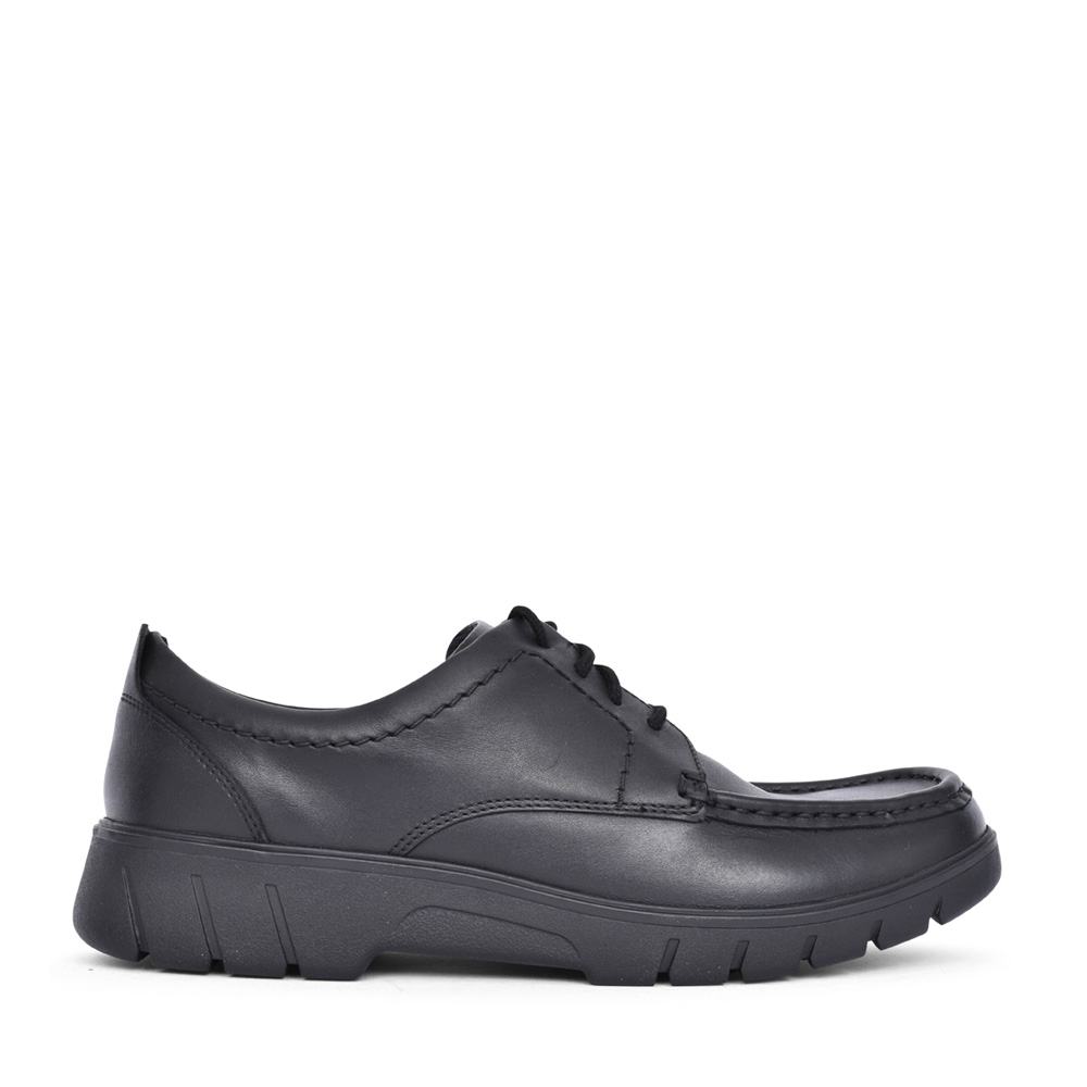 BOYS BRANCH LACE BLACK LEATHER SHOE in KIDS G FIT