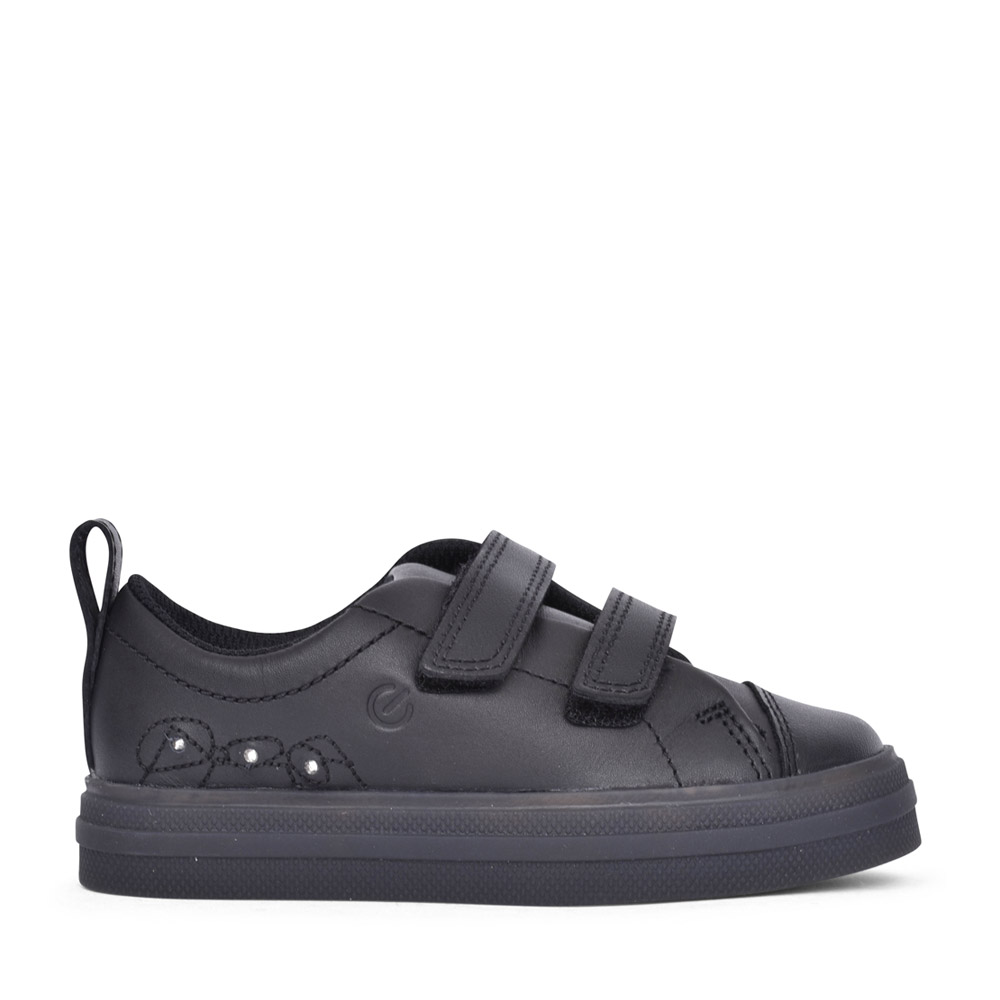 GIRLS FLARE BRIGHT BLACK LEATHER SHOE in KIDS F FIT