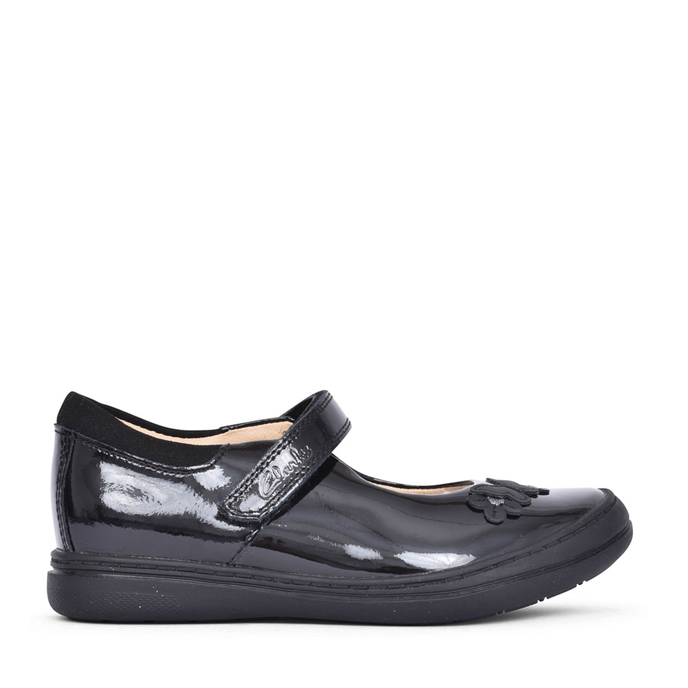 GIRLS SCOOTER DAISY BLACK PATENT SHOE in KIDS F FIT