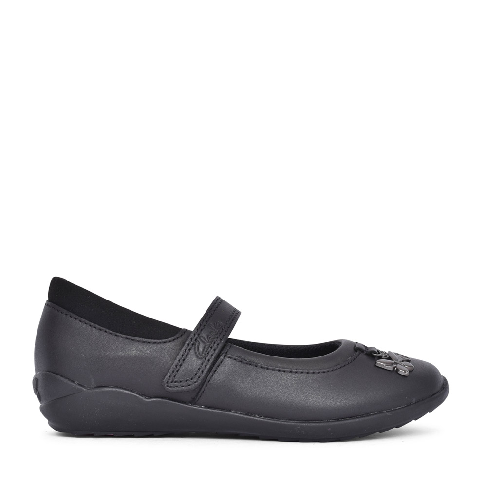 GIRLS VIBRANT TRAIL BLACK LEATHER SHOE in KIDS F FIT
